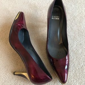 Burgundy patent leather Stuart weitzman pumps